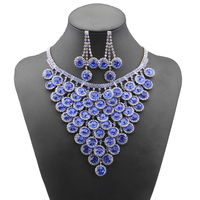 Luxury Wedding Bridal Jeweley Set Friar Blue Crystal Zircon african beads jewelry set Earring&Necklaces Anniversary Gift N109