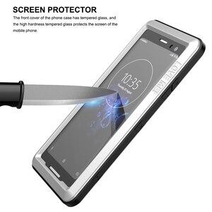 Image 5 - Sony Xperia için XZ3 telefon kılıfı ağır koruma zırh Metal sert ekran filmi temperli cam XZ 3 tam kapak silikon muhafazaları