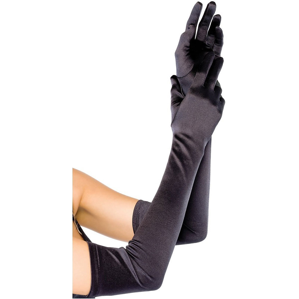 Black dress up gloves - Fashion Women Dress Up Cosplay Long Satin Opera Gloves Dancing Performance Gloves Photo Props Evening Party Black Gloves
