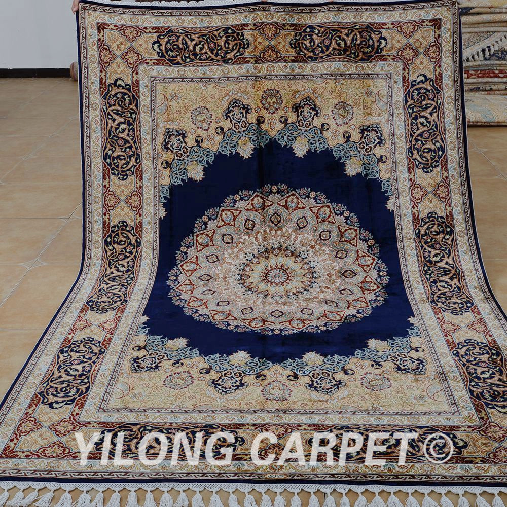 Yilong 5.6'x8.2' Antique Persian Carpets Dark Blue