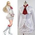 Game Tekken 6 LILI Original White Dress Tie Gloves Full Set Costume Cosplay For Halloween Party Girl Female Suit
