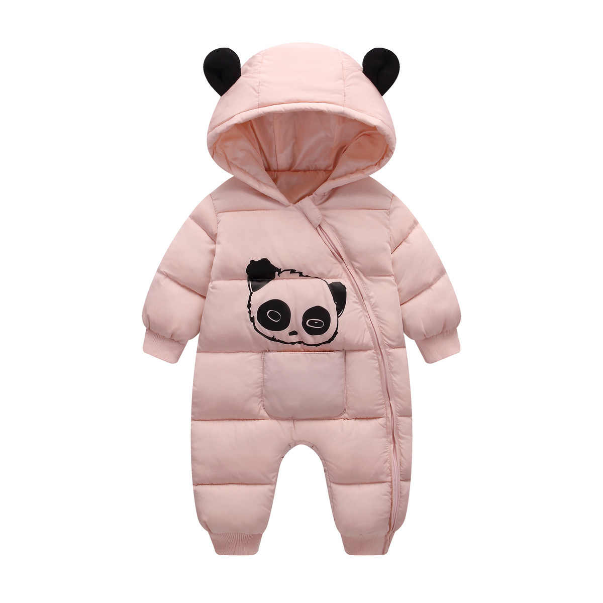 65e6f44ea083 ... Baby boy girl Clothes 2018 New born Winter Hooded Rompers Thick Cotton  Outfit Newborn Jumpsuit Children ...