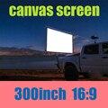 Frete grátis 300inch16: 9 fábrica venda sem moldura da tela de projeção profissional pode dobrar pode lavar brilho para projetor