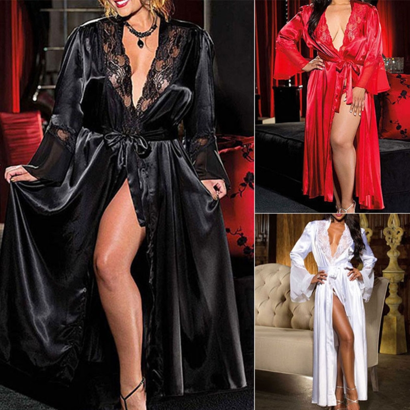 Womens Sexy Long Kimono Dress Lace Bath Robe Lingerie Gown Ice Silk Nightdress Solid Color Nightgown Nightwear Plus Size #0701
