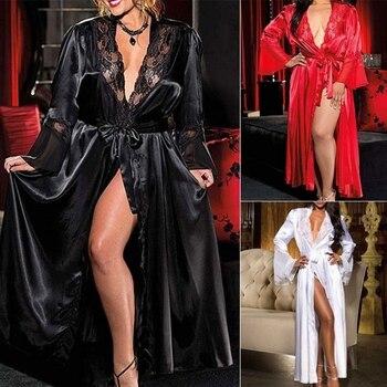 Womens Sexy Long Kimono Dress Lace Bath Robe