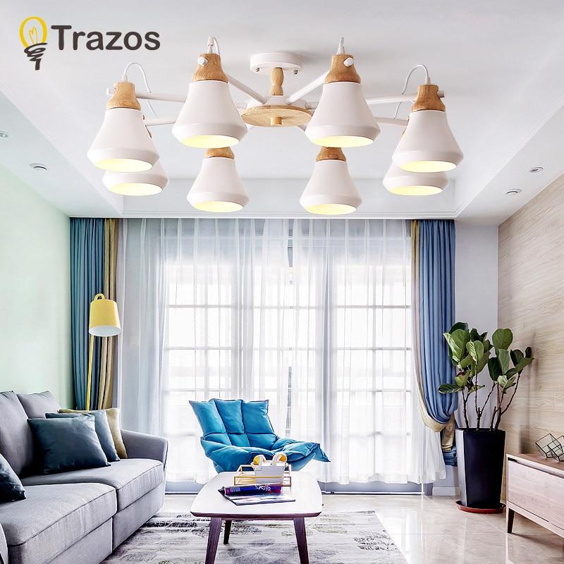 TRAZOS Lustre Wooden Chandelier For Living Room Iron Lampshade LED Chandelier Lighting Lustres Para Sala De Jantar Home Lamp
