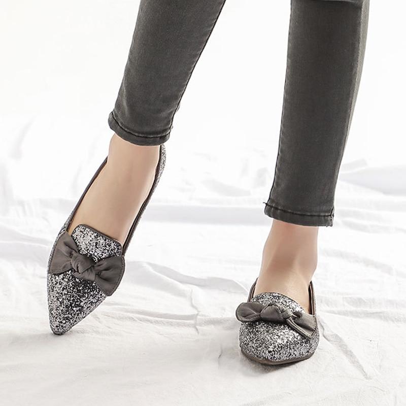 Bling Femmes De Partie Talons Dames Bureau Arc Appartements gris Danse Casual Confortable Noeud Pointu Chaussures Mode Noir Bout A7ArzU