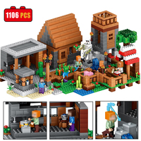 1106 PCS Model Building Bricks Compatible With Legoe My Worlds MineCrafted Village Blocks Educational Gift Toys