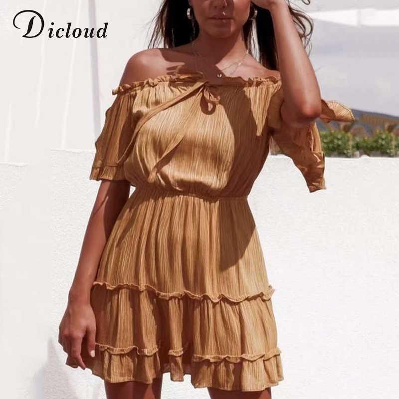 DICLOUD Сексуальные с открытыми плечами женские летние платья и сарафаны 2019 рукавом с открытой спиной мини-желтый пляж платье линии хлопка