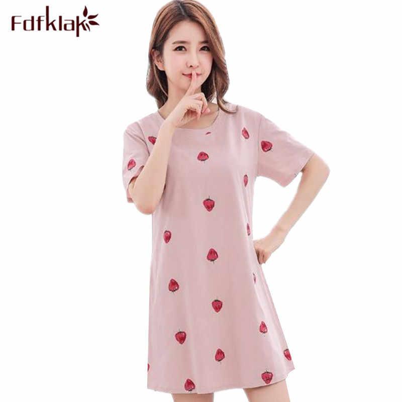 6b94456500 Fdfklak Cotton Summer Night Dress Women Short Sleeve Cartoon Printing Nightgowns  Female Sleepwear Sleepshirt Girls Nightshirt