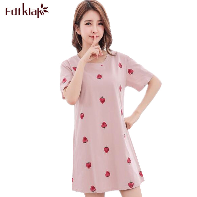 Fdfklak Cotton Summer Night Dress Women Short Sleeve Cartoon Printing Nightgowns Female Sleepwear Sleepshirt Girls Nightshirt