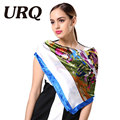 1PC 90*90cm Elegant style famous artist oil  painting printed square satin silk scarves bandana S9A9141