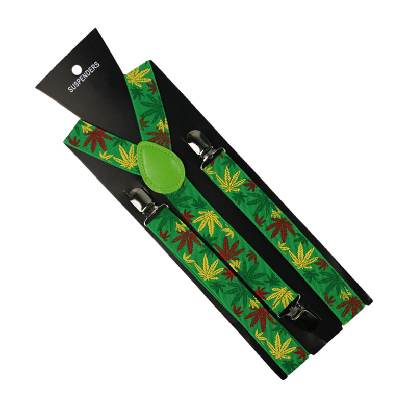 HUOBAO Fashion Yellow Green Weed Leaf Suspenders Braces Female Bretels 2.5cm Wide Adjustable Suspenders For Men Women