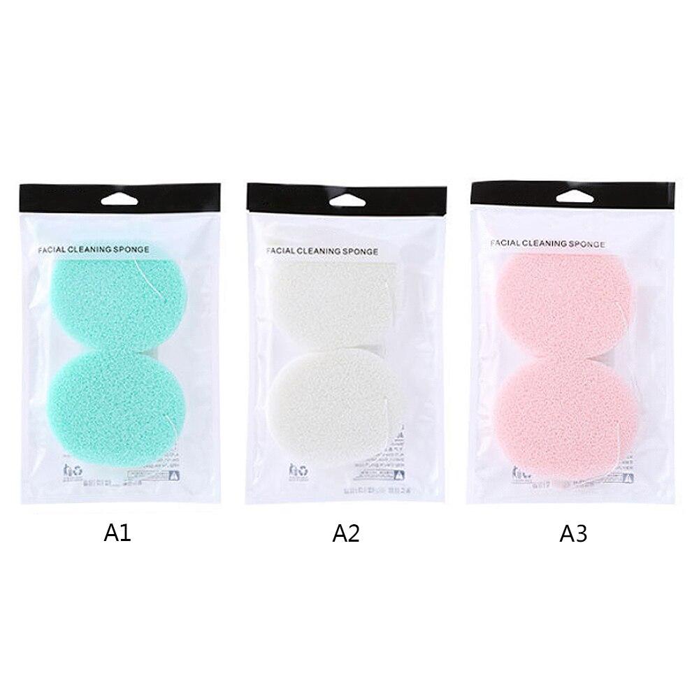 2pcs Smooth Face Cleaning Sponge Skin Care Soft Exfoliating Sponge