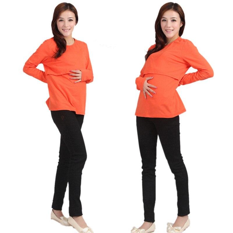 Весенне-осенняя одежда для беременных Одежда для кормления футболка с длинными рукавами - Цвет: orange