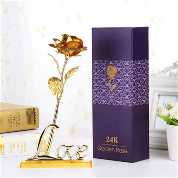 Us 125 24 Karat Vergoldet Rose Acryl Liebe Halter Gold Hochzeit Dekoration Blume Valentinstag Gold Getaucht Rose Künstliche Blume In Künstliche