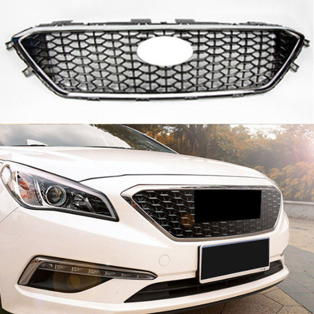 Car Front Per Grilles Honeycomb Grill Cover Fit For Hyundai Sonata 9th 2017 2018