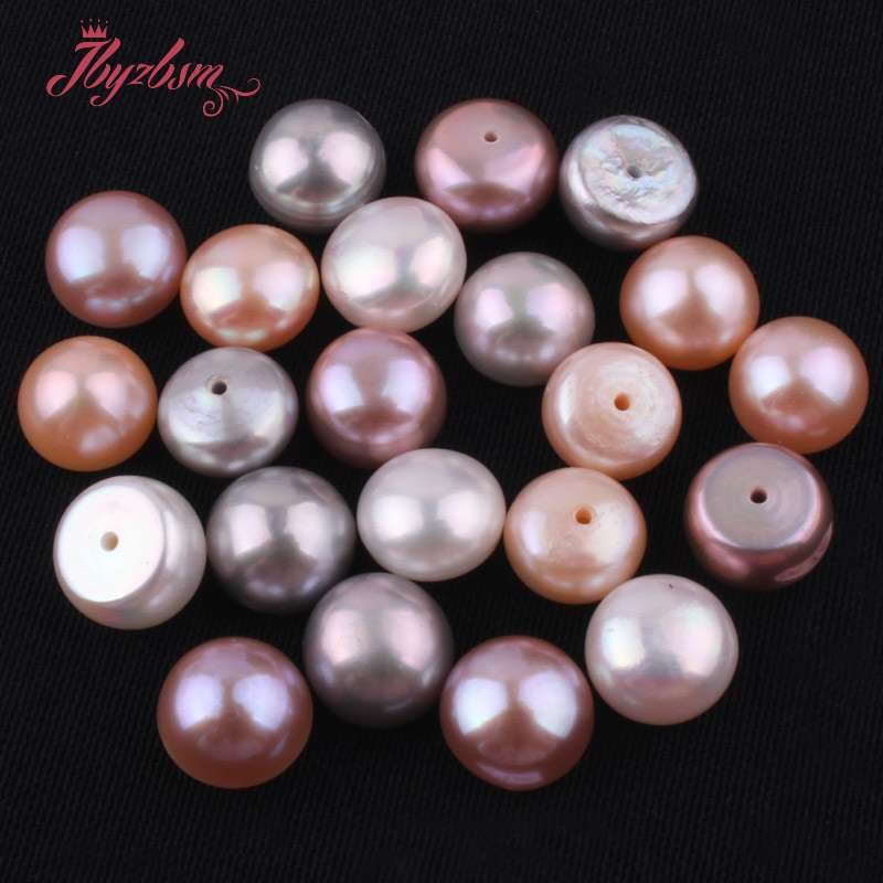 Jewelry & Accessories Beads & Jewelry Making 10mm Half Drilling Freshwater Pearl Beads Natural Stone Beads 1 Pair For Diy Earring Jewelry Making,wholesale Free Shipping Lustrous