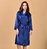 Navy Blue Ladies Sexy Kimono Yukata Bath Gown Silk Chiffon Nightgown Bridesmaid Wedding Robe Dress With