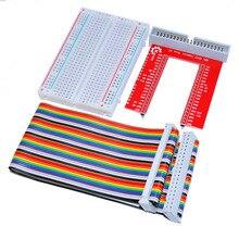 Free shipping!  Raspberry Pi 3 GPIO expansion DIY kit (40P rainbow wire + GPIO V2 + 400 holes Breadboard)