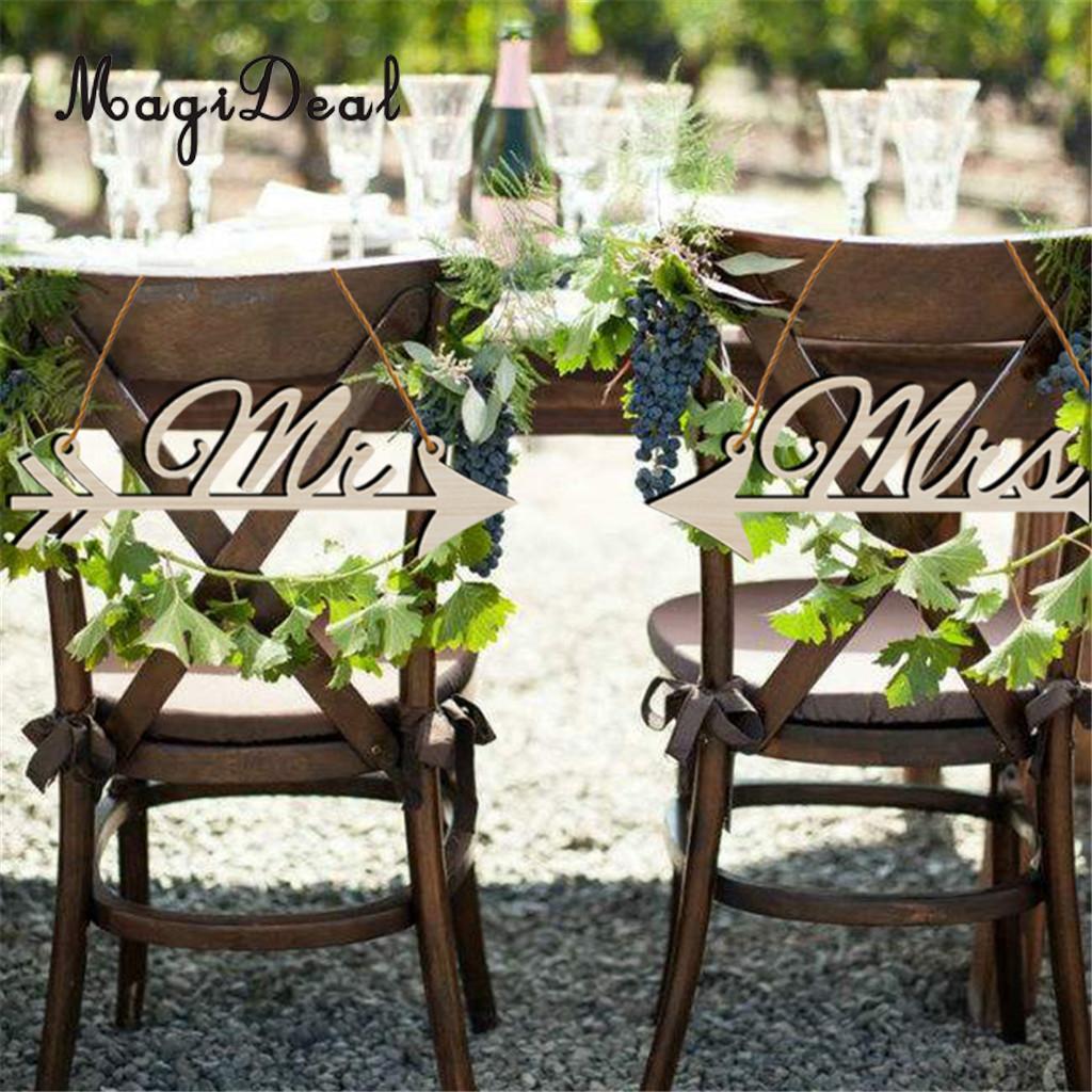 MagiDeal Модные 1 компл. Винтаж Mr & Mrs свадебные стул wood знак гирлянды DIY Craft для Обручение свадебный наряд для фотосессий Декор подарок