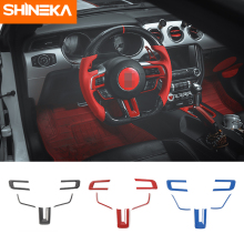 SHINEKA Car Stickers For Ford Mustang ABS Carbon Fiber Steering Wheel Sticker 2015-2016 Styling Accessories