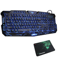 Gaming Keyboard Mechanical Computer Keyboard USB Wired LED 3 Color Red/Blue/Purple Backlit Gamer Lighted Keyboard With MousePad