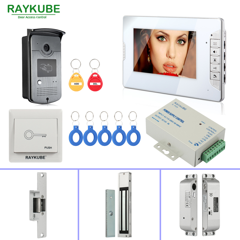 RAYKUBE RFID Door Access Control System With Video Door Phone Electric Door Lock RFID Reader Home Security Full Kit raykube glass door access control kit electric bolt lock touch metal rfid reader access control keypad frameless glass door