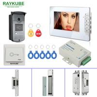 RAYKUBE RFID Door Access Control System With Video Door Phone Electric Door Lock RFID Reader Home Security Full Kit