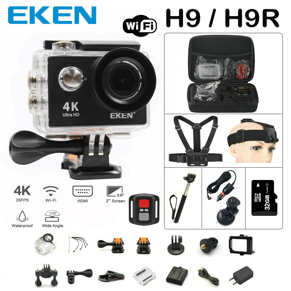 EKEN H9 Action camera H9R Ultra HD 4K / 25fps WiFi 2.0 170D underwater Helmet Cam waterproof camera Sport cam battery dual charger bag action camera eken h9 h9r 4k ultra hd sports cam 1080p 60fps 4 k 170d pro waterproof go remote camera