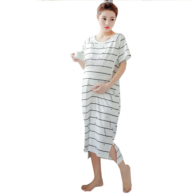 Summer Nurisng Dresses Breastfeeding Maternity Clothes For Pregnant Women Short Sleeve Striped Feeding Pregnancy Dresses Gravida