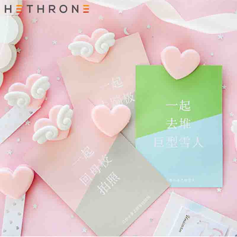 Hethrone 1pcs Kawaii Pink Love Wings Japanese Girl Paper Clips Binder Clip For Photo Message Ticket File Bookmark Memo Clip