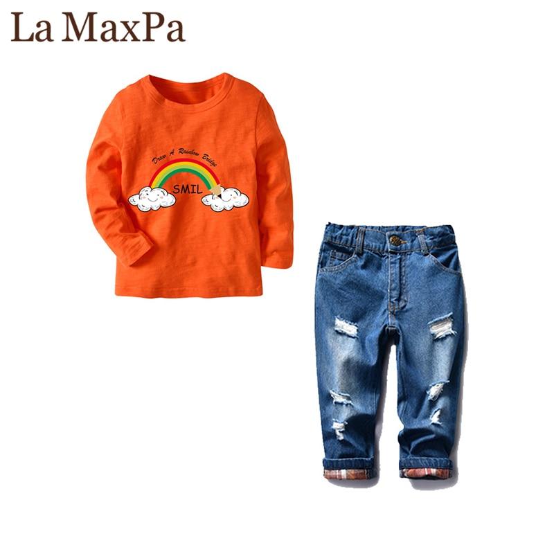 LaMaxPa Children's Wear 2018 spring Summer Baby kids Boys Sports Suit boy T-shirt + Hole jeans 2pcs Set Children's Clothes 2pcs set baby clothes set boy