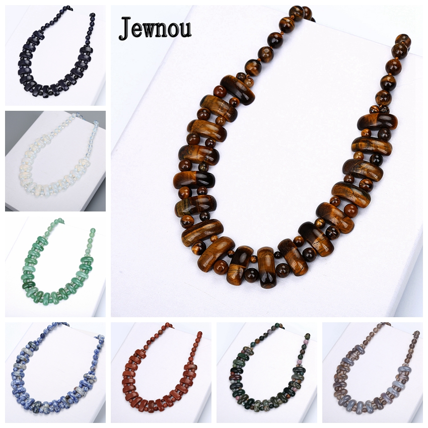 Jewnou Tiger Eye Necklace Statement Natural Crystal Jewelry Woman Gemstone Classic Bar Bib Choker Party Clavicle Chain
