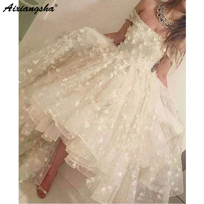 Fairy Prom Dresses 2019 Ball Gown Off The Shoulder Ivory Lace Flowers Short Sleeve High Low Prom Dress Saudi Arabic Evening Gown