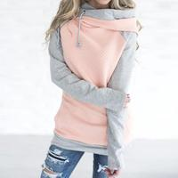 Autumn Winter Patchwork Women Sweatshirt Harajuku Hooded Hoodies Long Sleeve Zipper Tracksuit Pullover Tops WS3249R