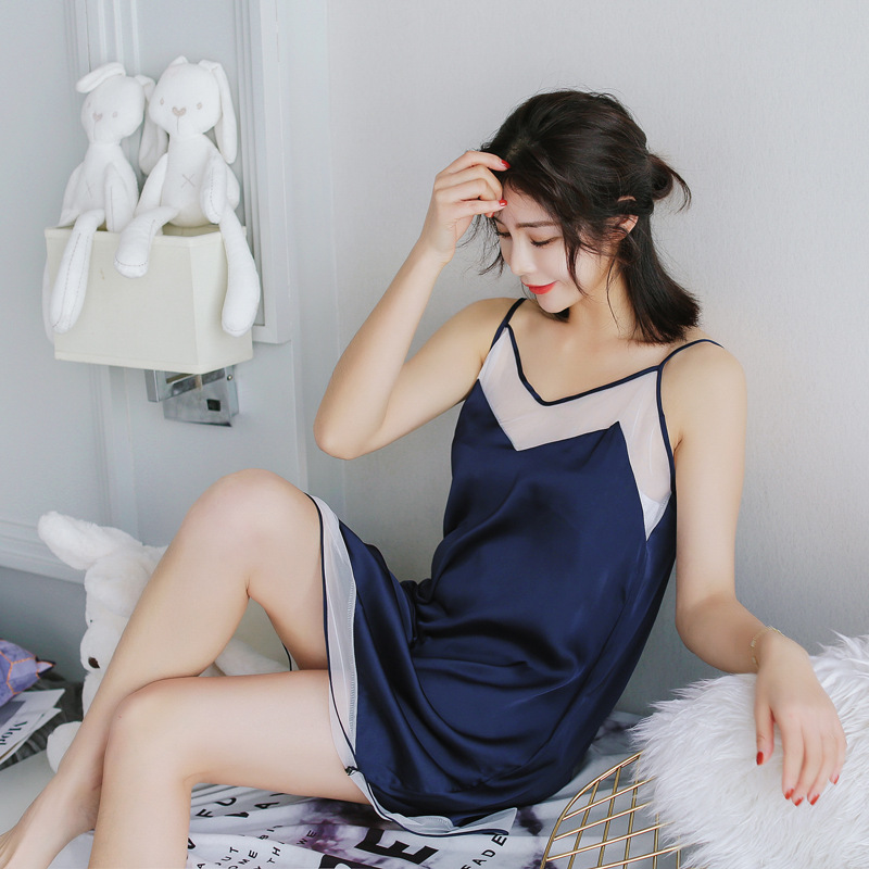 Women   Nightgowns   &   Sleepshirt   Sleep Lounge Satin Sleepwear V-Neck Sleeveless Sexy Ladies Silk Night Dress Elegant Home Dress