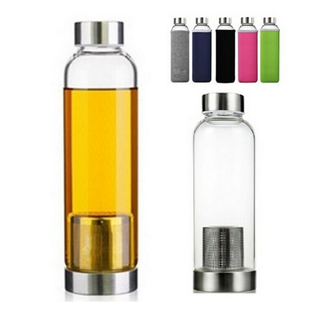550ml Universal BPA Free High Temperature Resistant Glass Sport Water Bottle With Tea Filter Infuser Bottle Jug Protective Bag 1