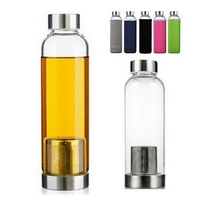 550ml Universal BPA Free High Temperature Resistant Glass Sport Water Bottle With Tea Filter Infuser Bottle Jug Protective Bag|glass sport water bottle|sports water bottle|water bottle -