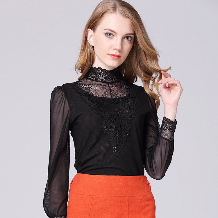 2018 New Victorian Lace High Neck Blouse Long Sleeved Black Net Yarn
