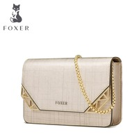 FOXER Shoulder Crossbody Long Chain Strap Bags Fashion Ladies Black Genuine Leather Massage Bag Free Shipping