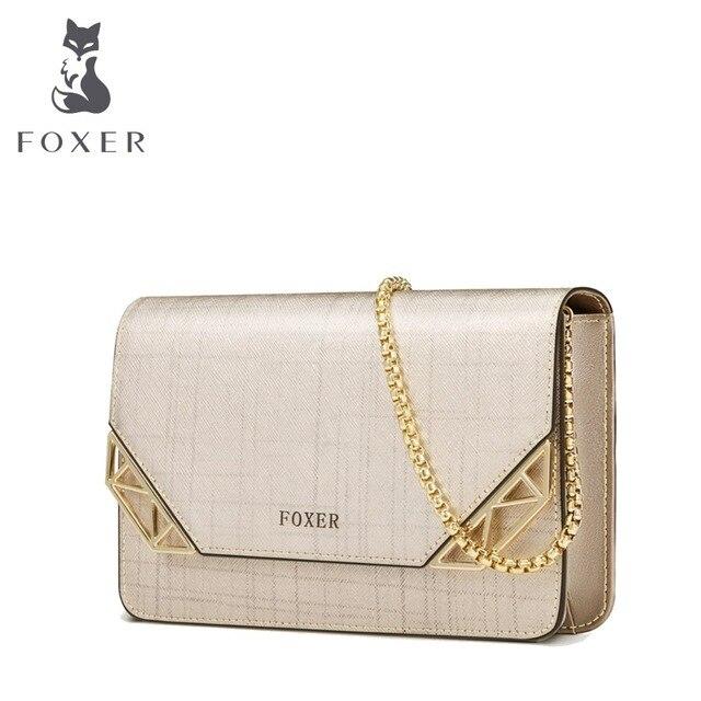 FOXER Брендовая женская кожаная сумка Женская ремешок-цепочка сумка женская сумка