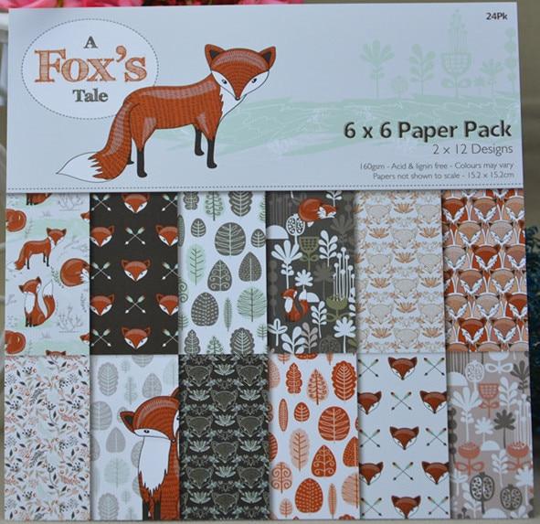 DIY FOX style papel de álbum de recortes Paquete de 24 hojas de papel artesanal para manualidades craft pad de fondo 6 uds. Desechables de papel no tejido bragas ropa interior señoras mujeres al por mayor