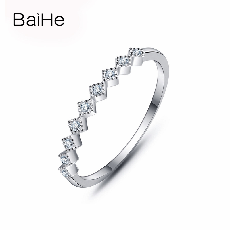 BAIHE Solid 10k White Gold(AU417) H/SI Round cut 100% Natural Diamonds Anniversary Engagement Band Women Fine Jewelry GIFT Ring цена