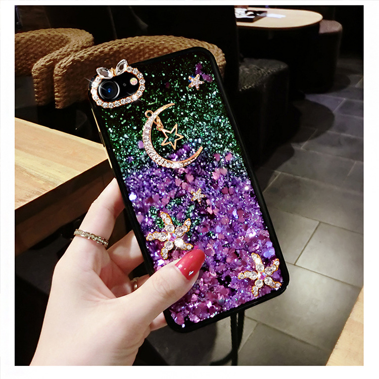 HKGK 2019 Shining Liquid Quicksand Case For iPhone 6 7 8 6P 7P 8P XS XR XSMAX ,Gorgeous Moon Star Crystal iphone X
