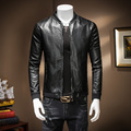 M~4XL! New 2016 Men's clothing leather jacket slim baseball water wash PU outerwear top costumes