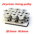 10pcs/lot GT2 Timing Pulley 20 teeth Alumium Material Inner Diameter  5mm for 6mm width belt 3d printer RedRap gt2 pulley