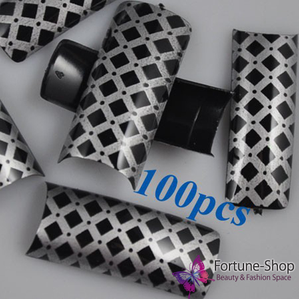 100pcs Beauty Fake Half Nail Art Tips Black Silver Cross Pre Design Plastic Acrylic Nails Tip