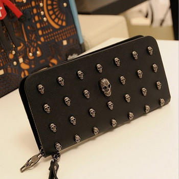 Man leather bag High Quality Skull Wallet Personality Clutch Bags Rivets PU Leather Purse Zipper Card Holder Punk Wallets H006 new 2017 fashion personality 3d skull leather backpack rivets skull backpack with hood cap apparel bag cross bags hiphop man 737