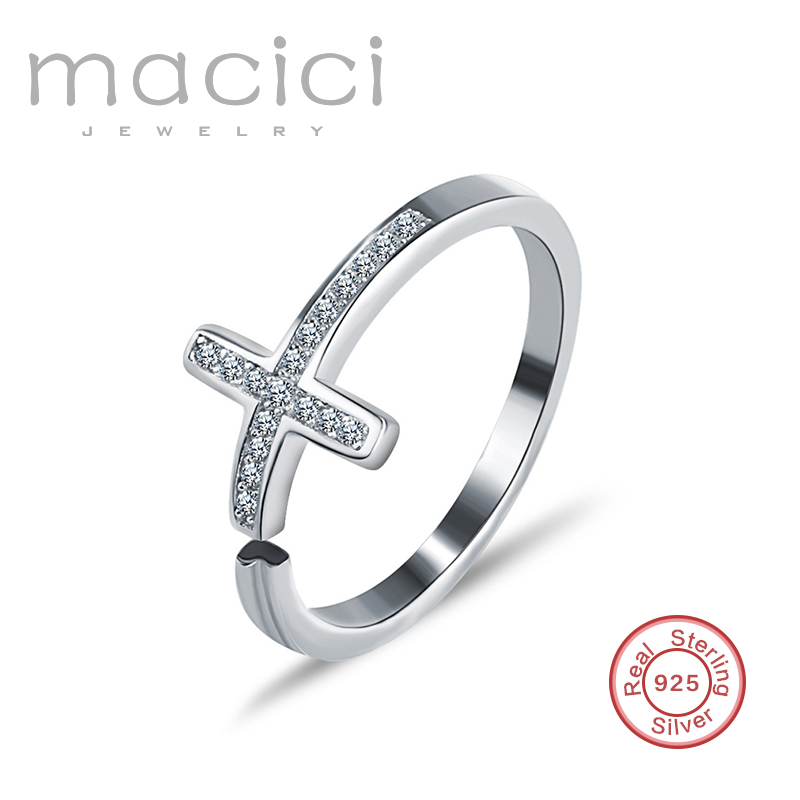 2016 sterling silver ring classic cz design wholesale sideways cross ring stamped S925